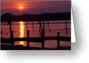 Clayton Photo Greeting Cards - Sunset at Colonial Beach Greeting Card by Clayton Bruster