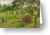Livestock Painting Greeting Cards - Sunset at Eragny Greeting Card by Camille Pissarro
