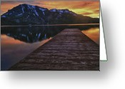 Fallen Leaf Greeting Cards - Sunset at Fallen Leaf Lake Greeting Card by Jacek Joniec