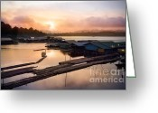 Dam Greeting Cards - Sunset At Fisherman Villages  Greeting Card by Setsiri Silapasuwanchai