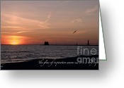 Sunset Jewelry Greeting Cards - Sunset at Grand Haven Light Greeting Card by Melissa Huber