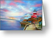 Sunset Prints Pastels Greeting Cards - Sunset at Johns Pass Madeira Beach Greeting Card by Gabriela Valencia