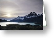 Andes Greeting Cards - Sunset At Lago Pehoe  In The Cuenos Del Greeting Card by Bill Hatcher
