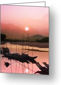 Sunlight Greeting Cards - sunset at Mae Khong river Greeting Card by Setsiri Silapasuwanchai