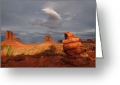 Western Digital Art Greeting Cards - Sunset at Monument Valley Greeting Card by Melany Sarafis