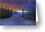 Myrtle Beach South Carolina Greeting Cards - Sunset at Myrtle Beach SC Dunes Greeting Card by Joe Granita