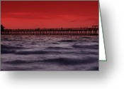 Red Bay Greeting Cards - Sunset at Naples Pier Greeting Card by Melanie Viola