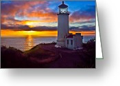 Fresnel Greeting Cards - Sunset at North Head Greeting Card by Robert Bales