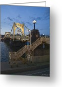 Roberto Clemente Greeting Cards - Sunset at Roberte Clemente Bridge Greeting Card by Dirk VandenBerg