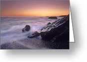 San Simeon Greeting Cards - Sunset At San Simeon State Park Big Sur Greeting Card by Tim Fitzharris