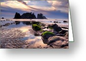 Shi Greeting Cards - Sunset at Shi Shi Beach Greeting Card by Alvin Kroon