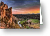 No People Greeting Cards - Sunset At Smith Rock State Park In Oregon Greeting Card by David Gn Photography