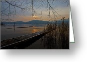 Back-light Greeting Cards - sunset at the Lake Maggiore Greeting Card by Joana Kruse