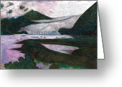 National Drawings Greeting Cards - Sunset At The Mendenhall Glacier Juneau  Alaska Greeting Card by Al Goldfarb