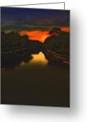 Golden Framed Prints Greeting Cards - Sunset At The Old Canal Greeting Card by Thomas York