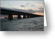 N Taylor Greeting Cards - Sunset at the Seven Mile Bridge Greeting Card by N Taylor