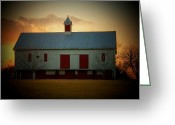 White Barns Greeting Cards - Sunset Barn Greeting Card by Joyce L Kimble