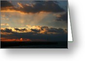 Sunset Posters Greeting Cards - Sunset Bay 5 Greeting Card by Joyce StJames