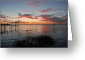 Sunset Posters Greeting Cards - Sunset Bay 57 Greeting Card by Joyce StJames