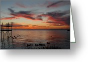 Sunset Posters Greeting Cards - Sunset Bay 58 Greeting Card by Joyce StJames