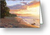 Shore Painting Greeting Cards - Sunset Beach - Oahu Greeting Card by Steve Simon