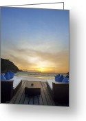 Wait Greeting Cards - Sunset Beach Greeting Card by Setsiri Silapasuwanchai