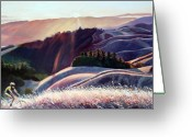 Marin Greeting Cards - Sunset Bike Ride Greeting Card by Colleen Proppe
