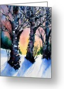 Winter Trees Mixed Media Greeting Cards - Sunset Birches on the Rise Greeting Card by Kathy Braud