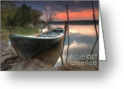 Twilight Greeting Cards - Sunset Boat Greeting Card by Evgeni Dinev