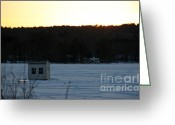 Hockey Winter Classic Greeting Cards - Sunset Bob Greeting Card by Michael Mooney