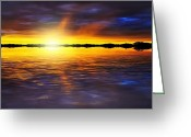 Dusk Mixed Media Greeting Cards - Sunset by the River Greeting Card by Svetlana Sewell