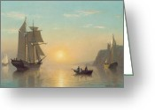 Ports Greeting Cards - Sunset Calm in the Bay of Fundy Greeting Card by William Bradford