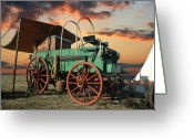 Old West Greeting Cards - Sunset Chuckwagon Greeting Card by Robert Anschutz