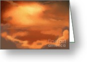 Fantasy Art Digital Art Greeting Cards - Sunset clouds Greeting Card by Pixel Chimp