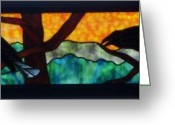 Black Glass Art Greeting Cards - Sunset Crows Greeting Card by Jane Croteau