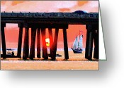 Florida Bridge Digital Art Greeting Cards - Sunset Cruise in smug stick Greeting Card by James Granberry