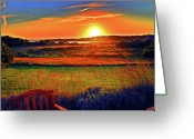 Duncan Pearson Greeting Cards - Sunset Eat Fire Spring Rd Nantucket MA 02554 Large Format Artwork Greeting Card by Duncan Pearson