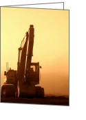 Dusty Road Greeting Cards - Sunset Excavator Greeting Card by Olivier Le Queinec