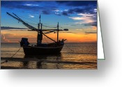 Huahin Greeting Cards - Sunset Fisherman Boat Huahin Thailand Greeting Card by Arthit Somsakul
