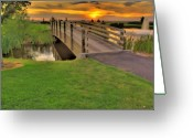 Bridge Greeting Cards - Sunset Foot Bridge Greeting Card by Dale Stillman