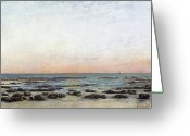 Sunset Scenes. Painting Greeting Cards - Sunset Greeting Card by Gustave Courbet