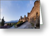 South France Greeting Cards - Sunset in Carcassonne Greeting Card by Robert Lacy