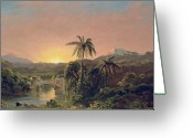 Mesoamerican Greeting Cards - Sunset in Equador Greeting Card by Frederic Edwin Church