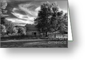 Cabins Greeting Cards - Sunset in Grafton Ghost Town Greeting Card by Sandra Bronstein