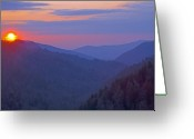 Smoky Mountains Greeting Cards - Sunset in Great Smoky Mountain National Park Tennessee Greeting Card by Brendan Reals