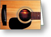 Musical Greeting Cards - Sunset in guitar Greeting Card by Garry Gay