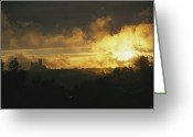 Washington Cathedral Greeting Cards - Sunset In Rock Creek Park Greeting Card by David Evans