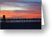 People Pyrography Greeting Cards - Sunset in San Diego Greeting Card by Karen Becker