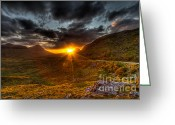 Gabor Pozsgai Greeting Cards - Sunset in the Highlands Greeting Card by Gabor Pozsgai