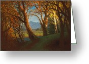 The Glade Greeting Cards - Sunset in the Nebraska Territory Greeting Card by Albert Bierstadt